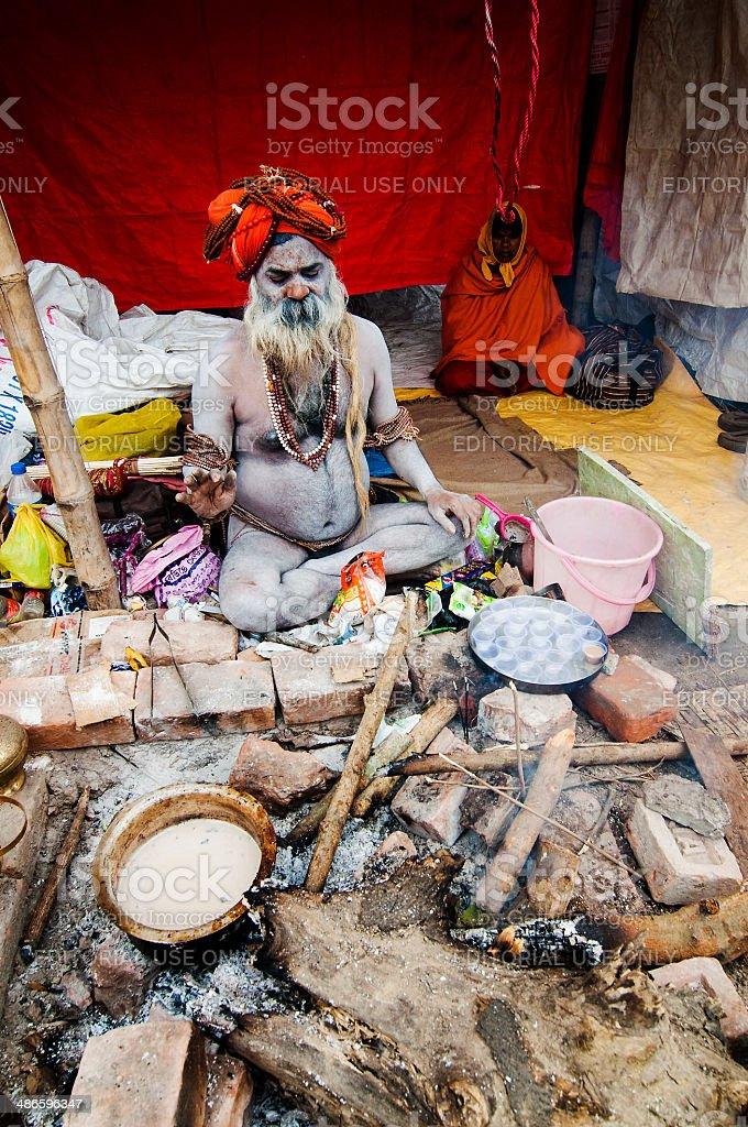 Sadhus (Hindu Saint) and his tent. royalty-free stock photo