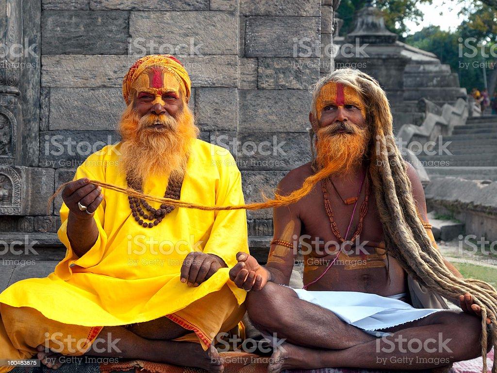 Sadhus in Nepal stock photo