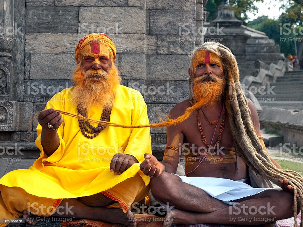 Sadhus in Nepal stock photo