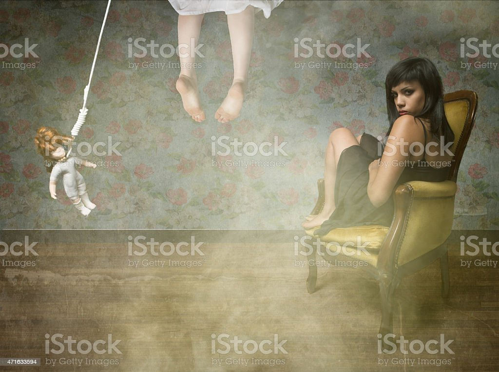 sadic girl in a suicide situation stock photo
