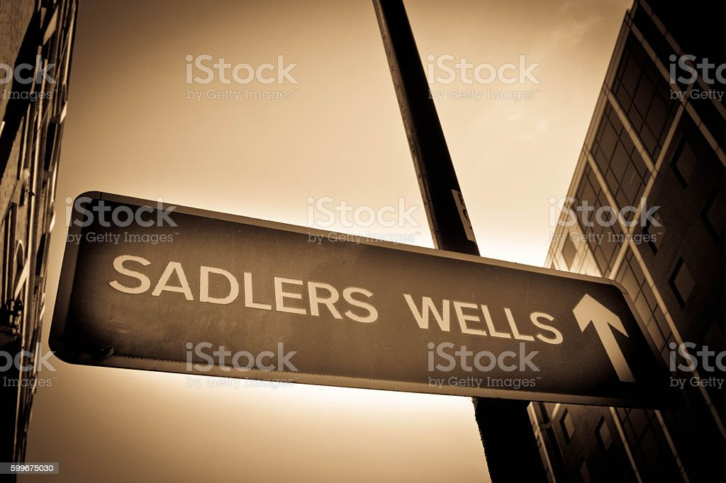 Sadlers wells sign stock photo
