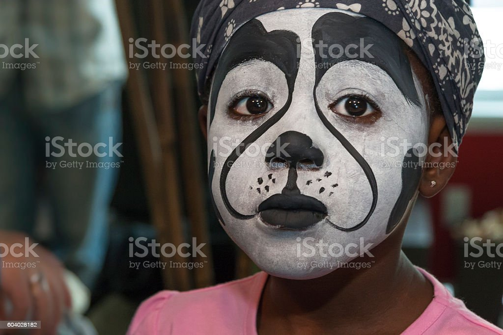 Sadness Child after Stage Make-up stock photo