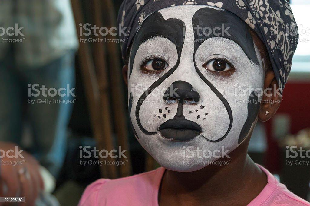 Sadness Child after Stage Make-up stock photo