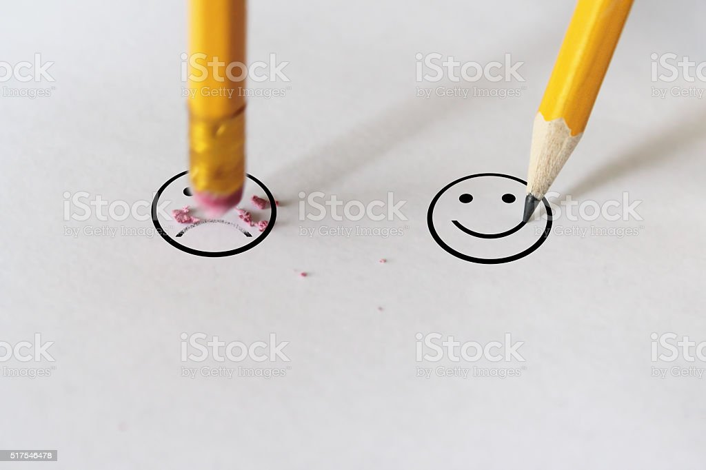 sadness to happiness stock photo