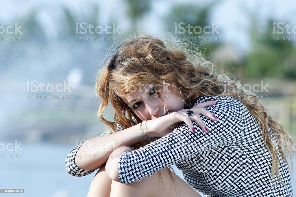 sadness young woman royalty-free stock photo