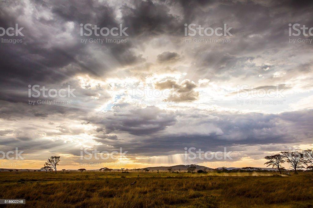 Safari car driving in beautiful and dramatic african landscape stock photo