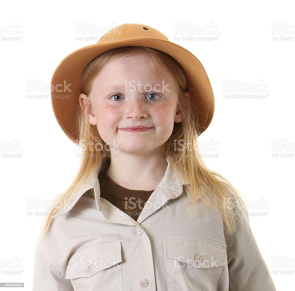 safari girl portrait stock photo