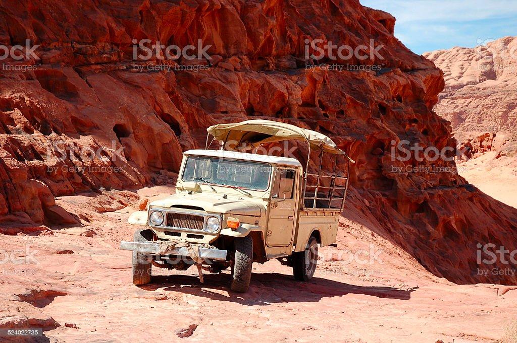 Safari in Wadi Rum desert, Jordan stock photo