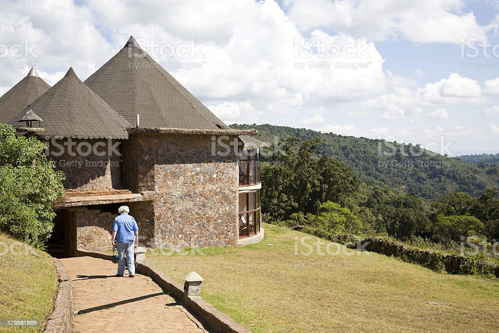 Safari lodge Ngorongoro stock photo