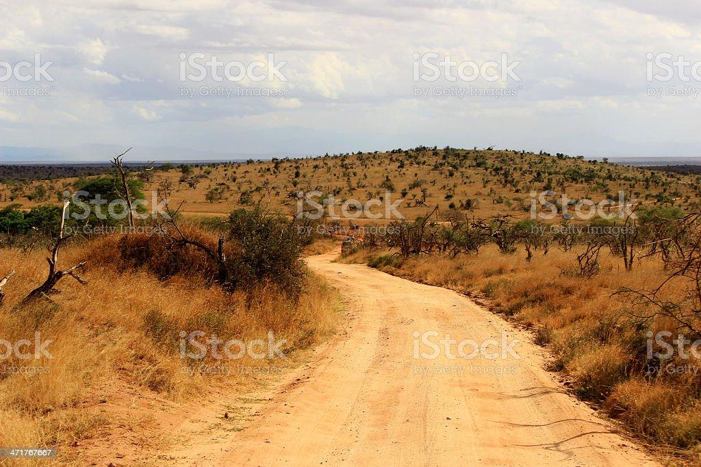 Safari road in Tsavo East, Kenya royalty-free stock photo