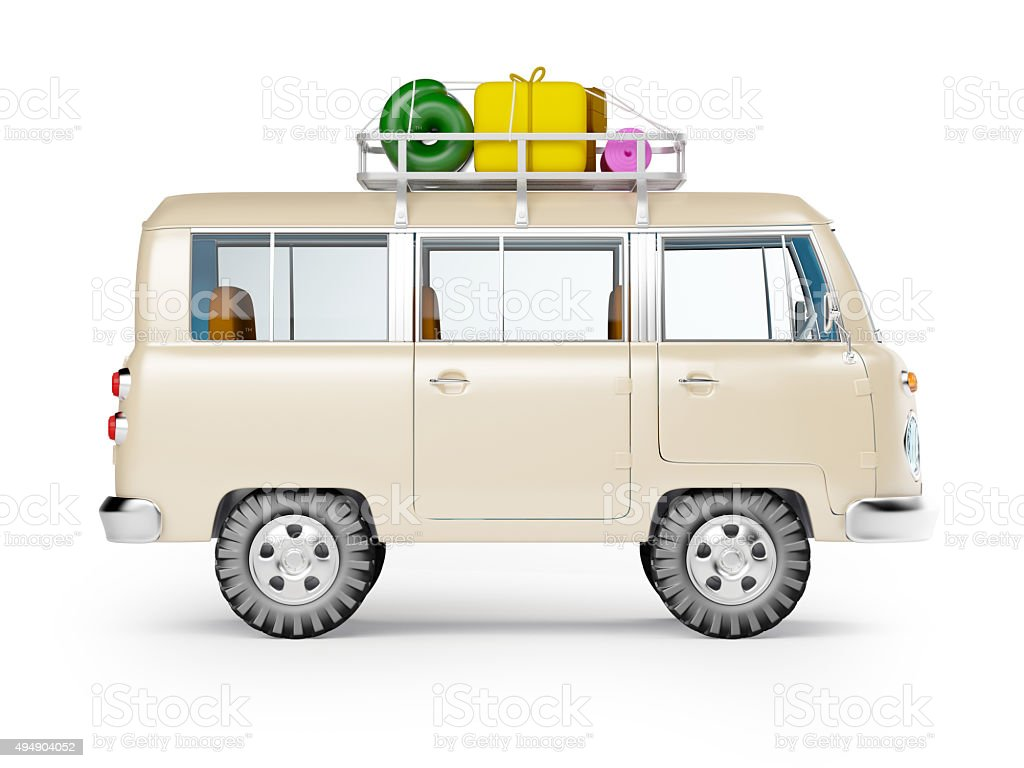 safari van with roofrack side view stock photo