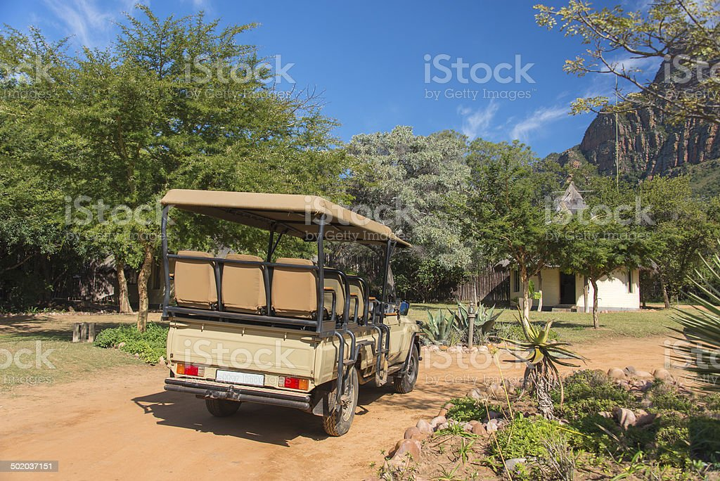 Safari Vehicle at Lodge stock photo
