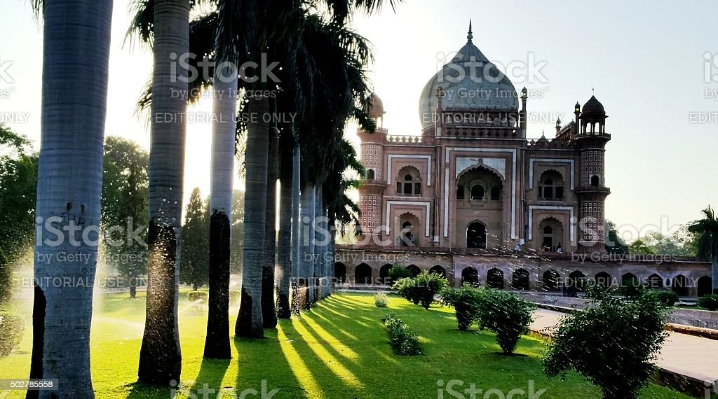 Safdarjung's Tomb with palm trees stock photo
