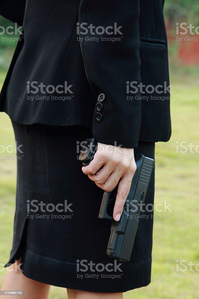 Safe Action with a gun stock photo
