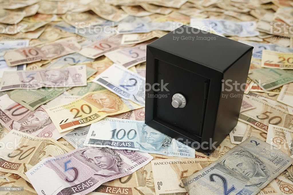 Safe and Brazilian money royalty-free stock photo