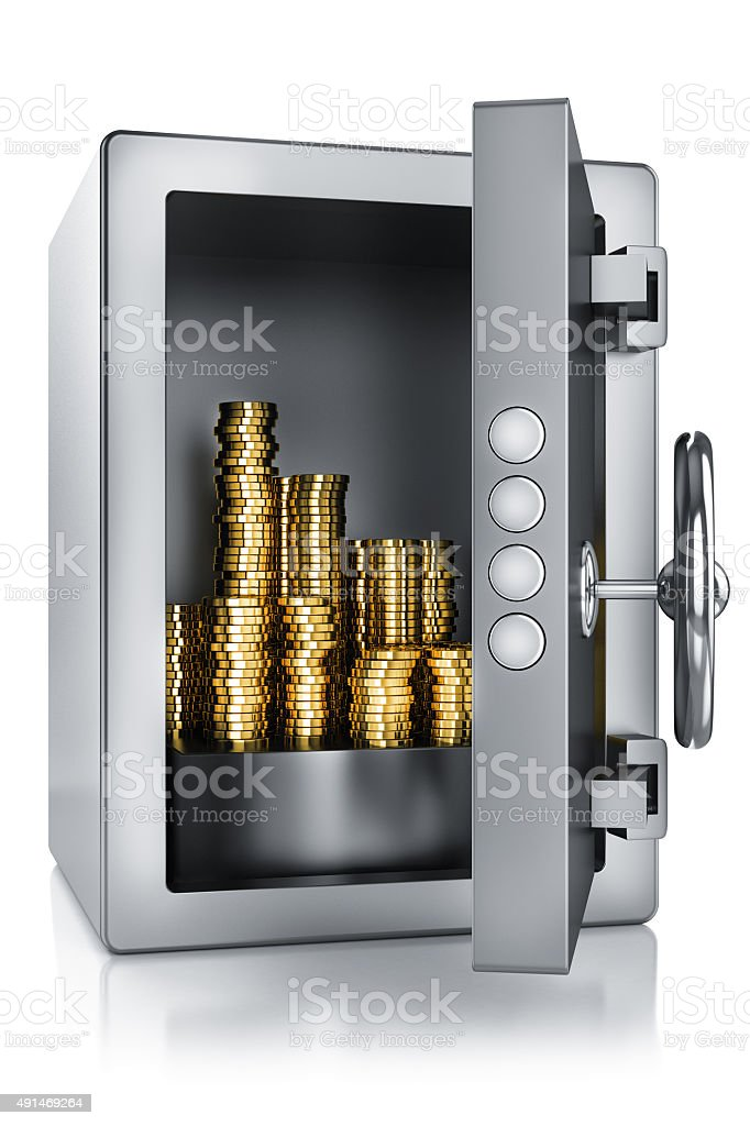 safe and gold stock photo