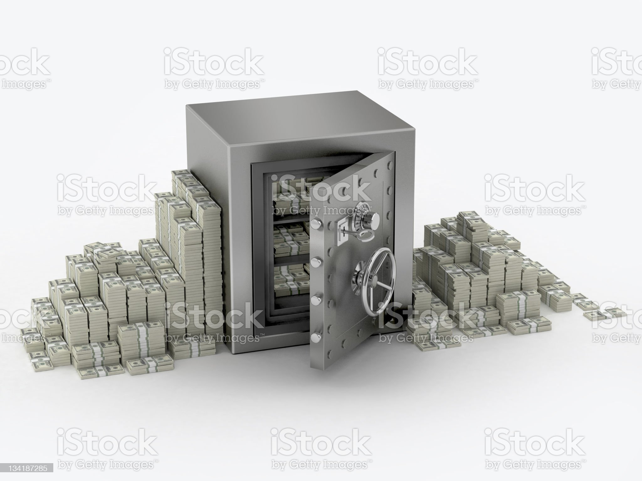 Safe and money stack royalty-free stock photo