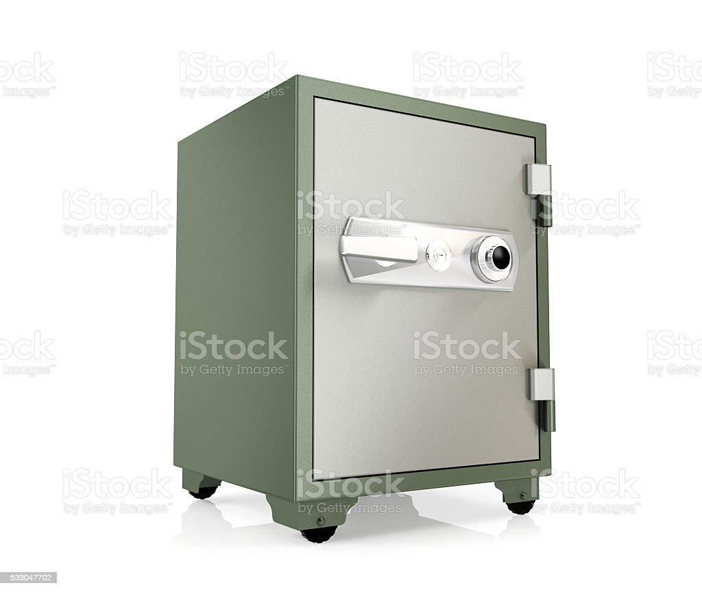 Safe box isolated on white background stock photo