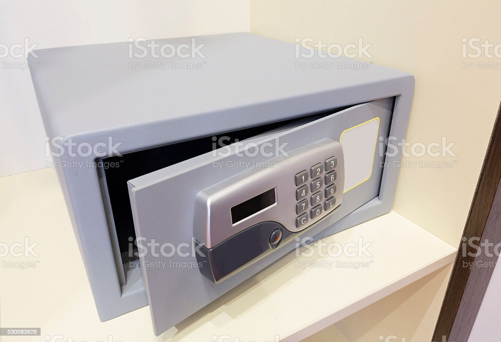 Safe box with electronic lock in the hotel stock photo