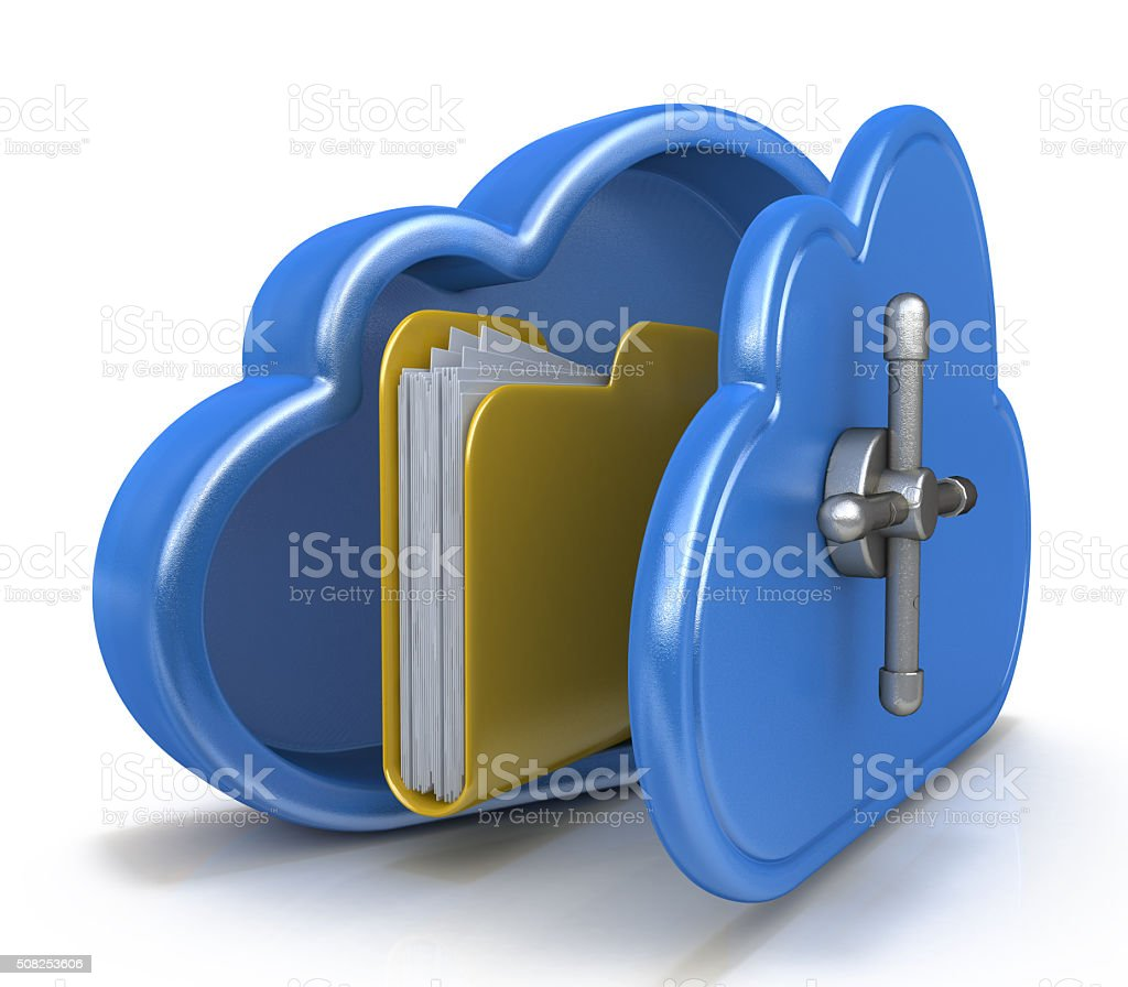 Safe cloud computing concept and a file folder stock photo