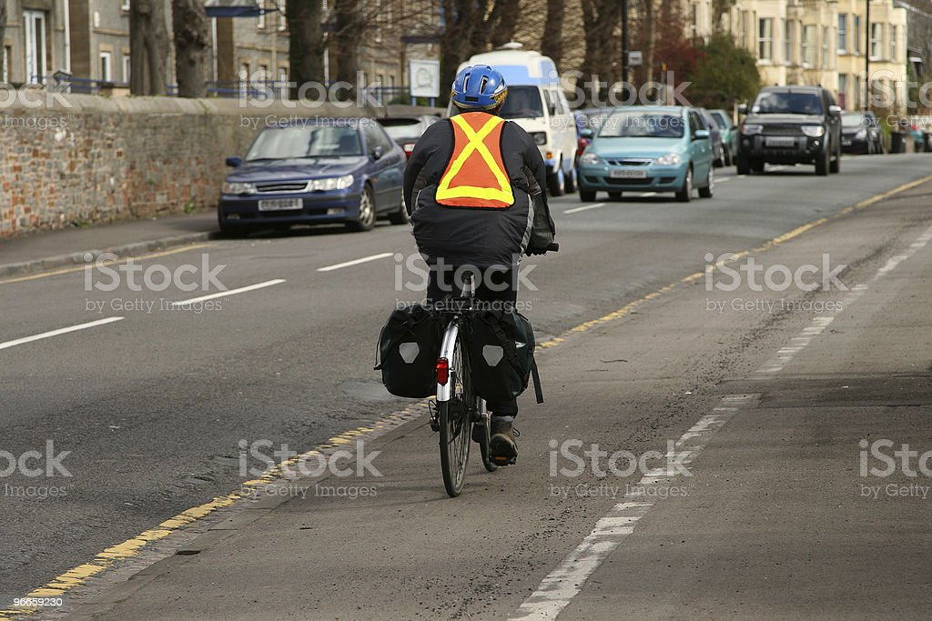 Safe cyclist stock photo