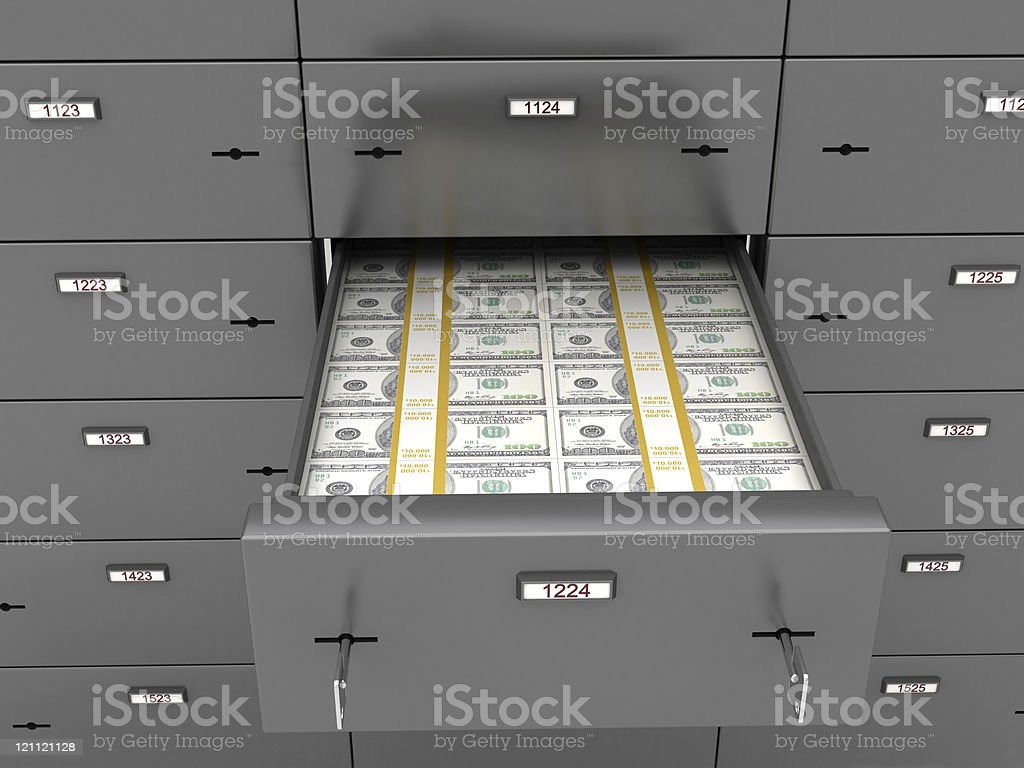 Safe Deposit with Cash royalty-free stock photo