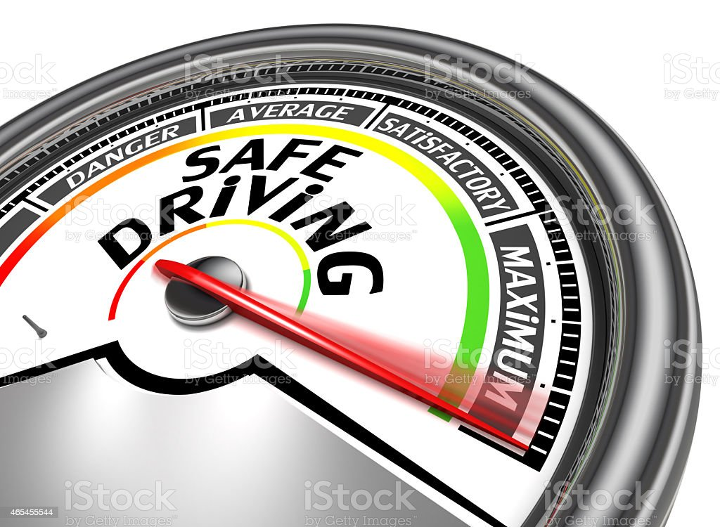 safe driving conceptual meter stock photo