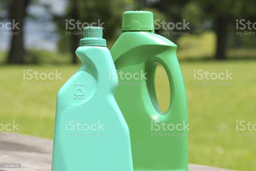 safe environmental product in recycle bottles stock photo