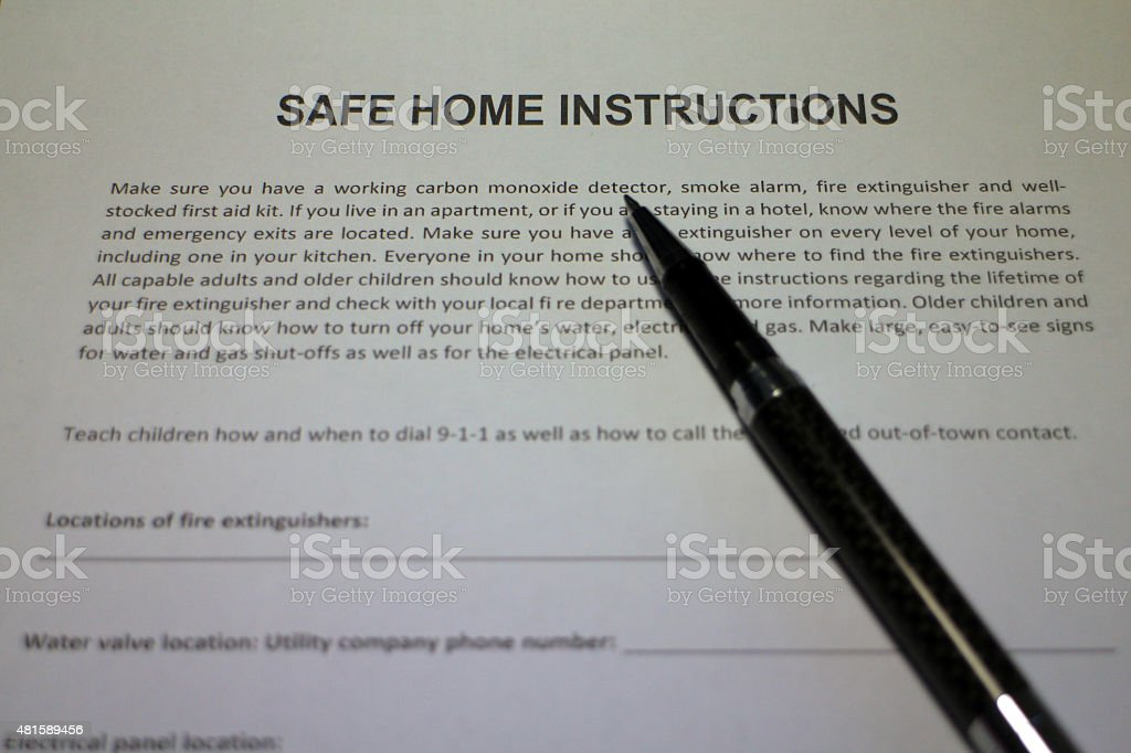 Safe Home Emergency Planning stock photo