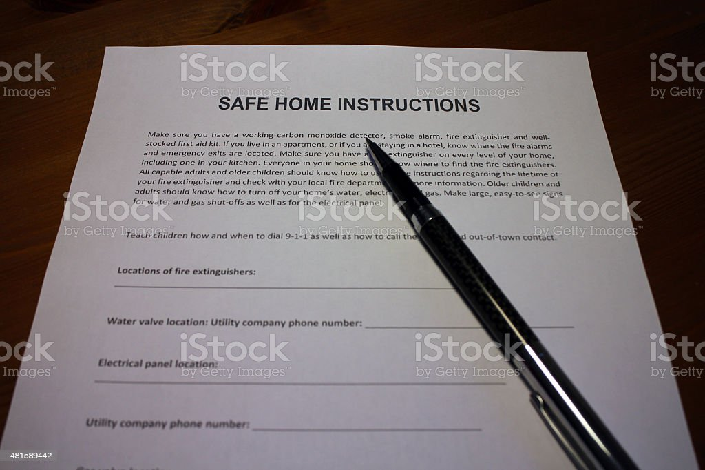 Safe Home Instructions Document stock photo
