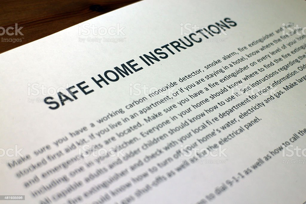 Safe Home Instructions stock photo