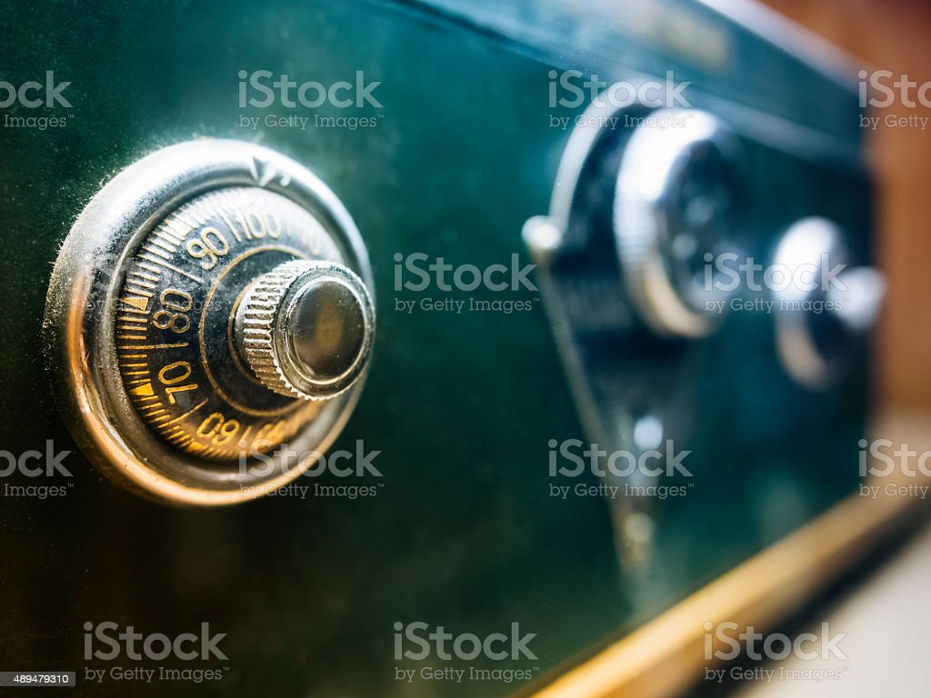 Safe lock code on safety box bank stock photo