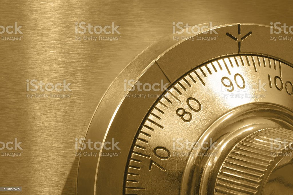 Safe Lock in Gold stock photo