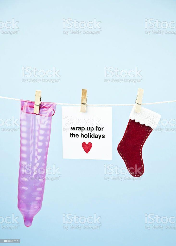 Safe Sex  Christmas Condom royalty-free stock photo