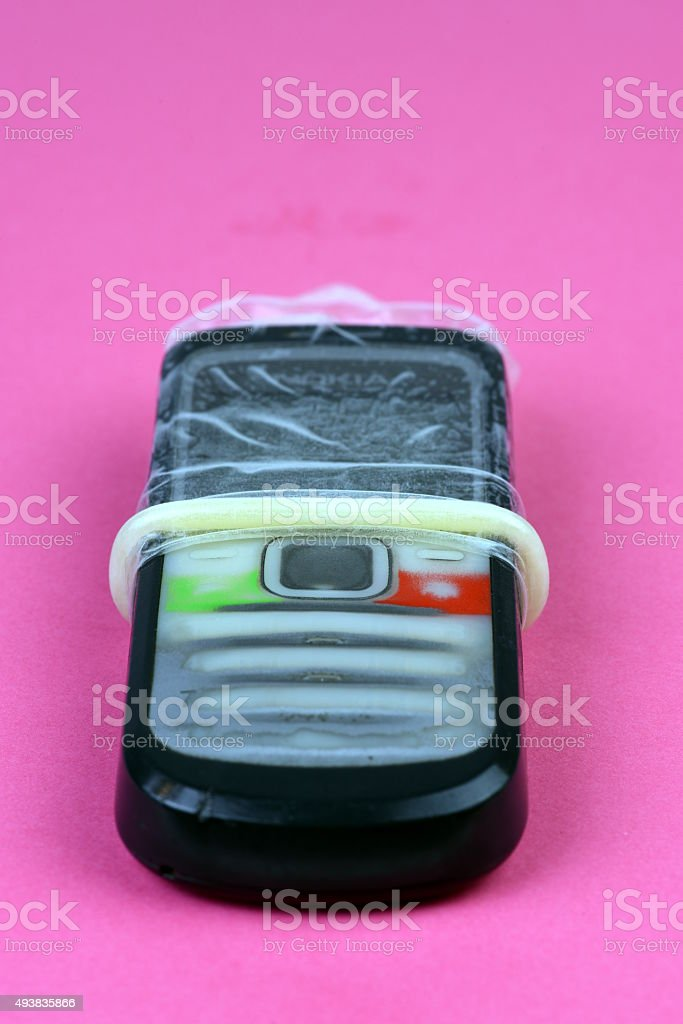 Safe Sex on Phone stock photo