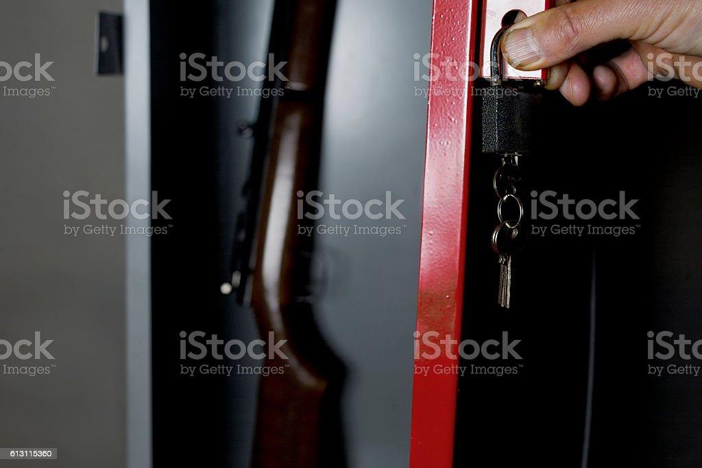 Safe With A Gun stock photo