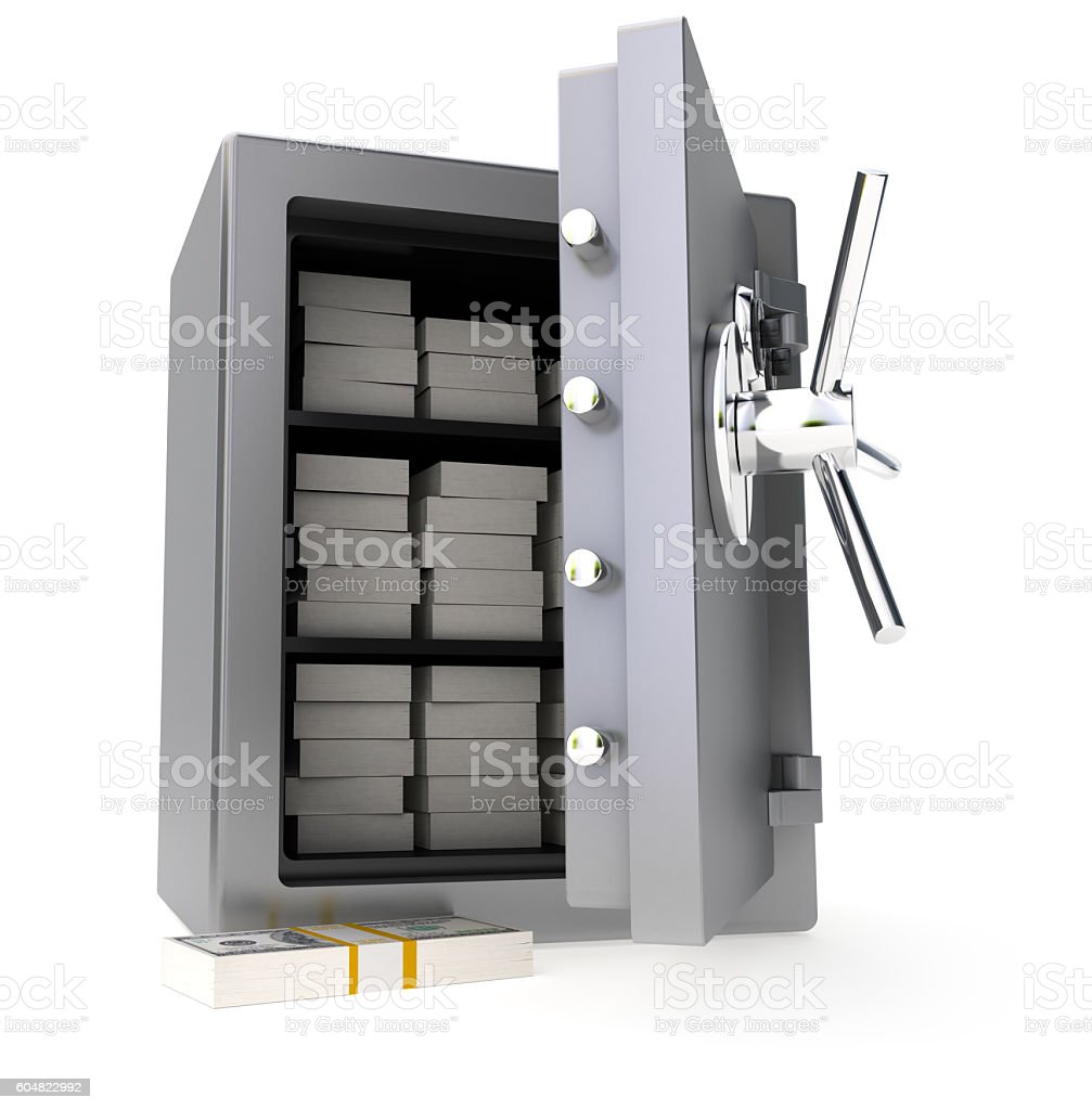 Safe with Cash stock photo