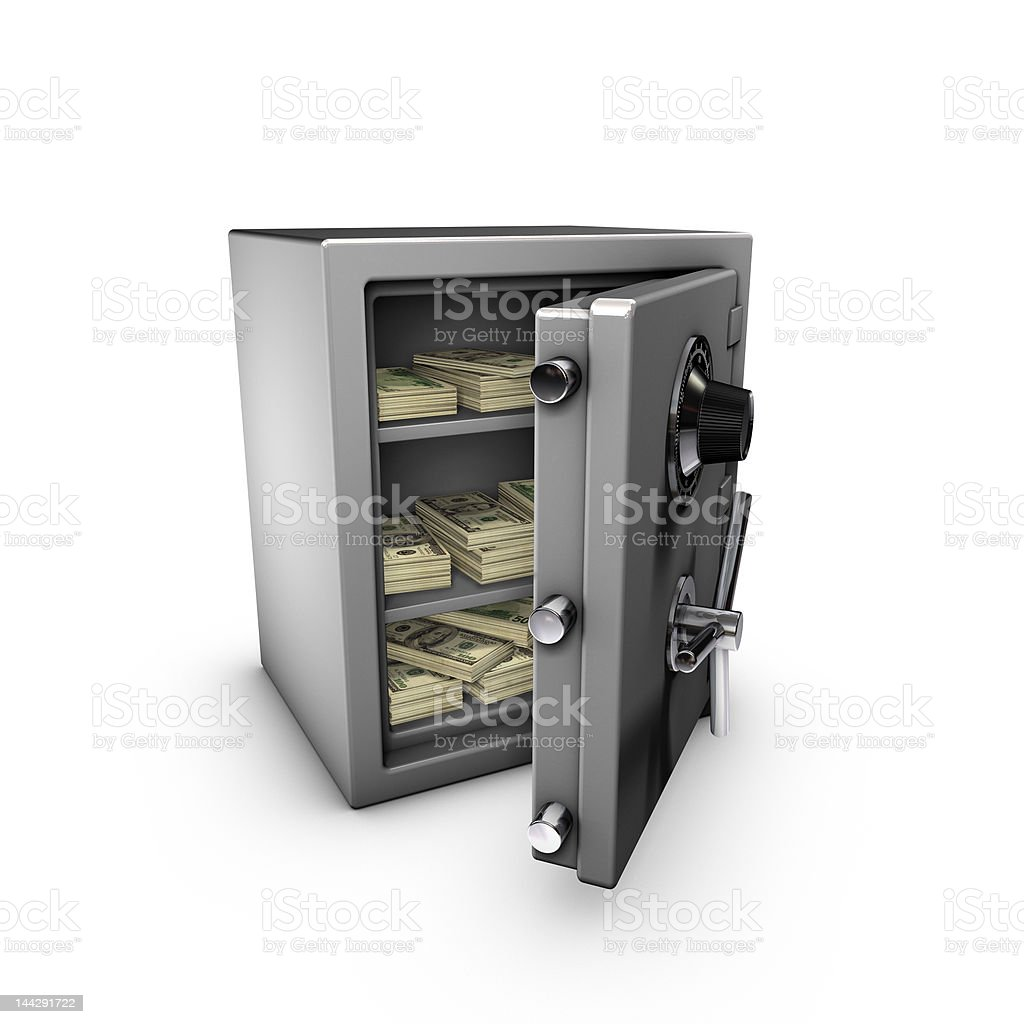 safe with dollar notes inside royalty-free stock photo