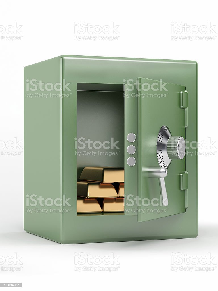 safe with gold bullions royalty-free stock photo