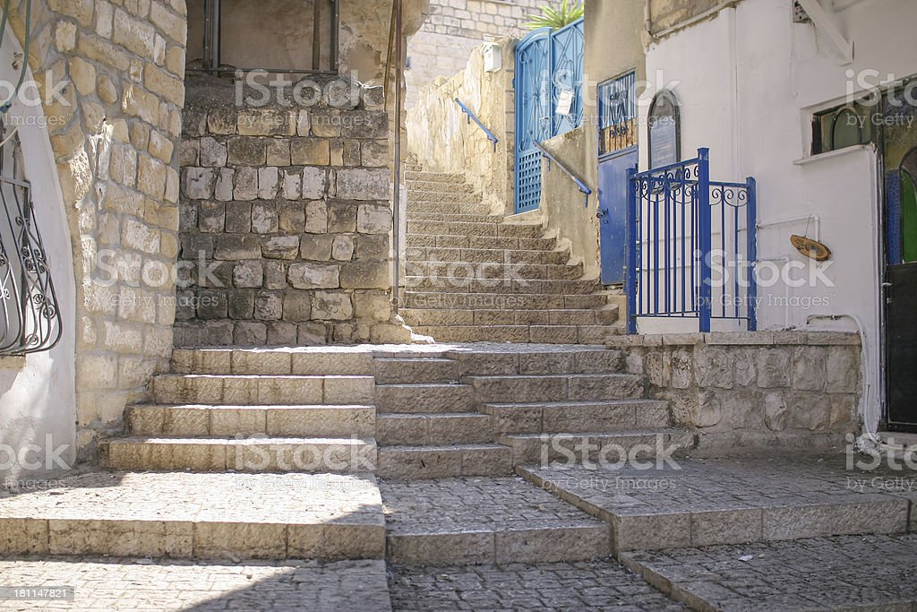 Safed alley, Israel stock photo