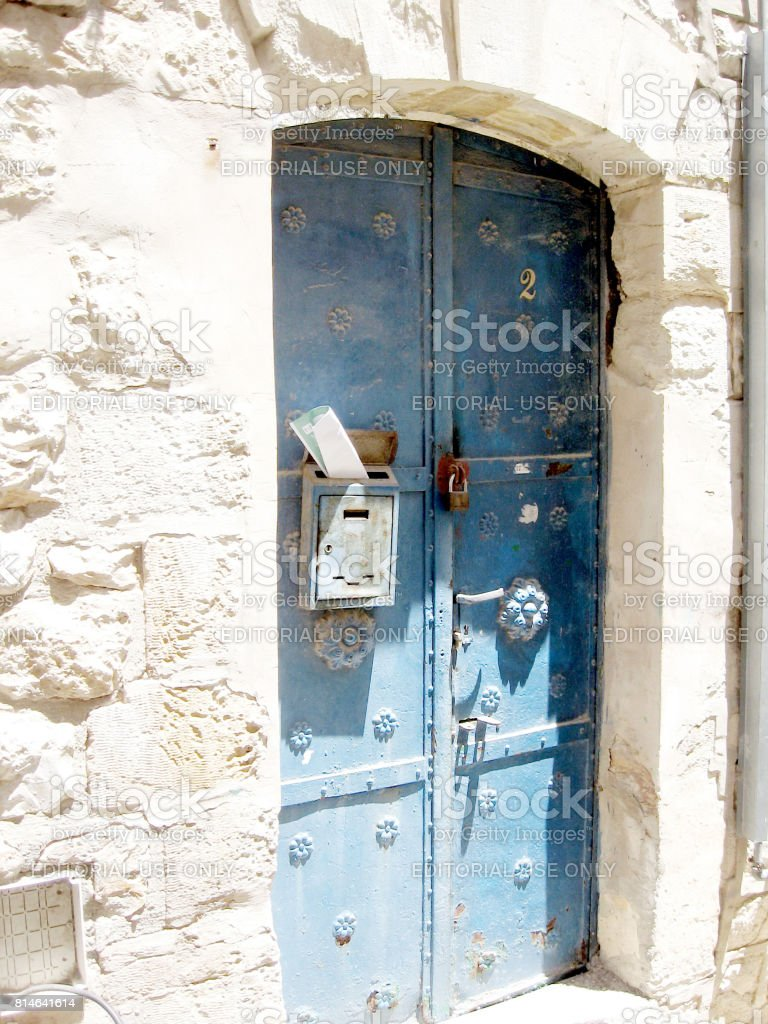 Safed Old City blue door 2008 stock photo