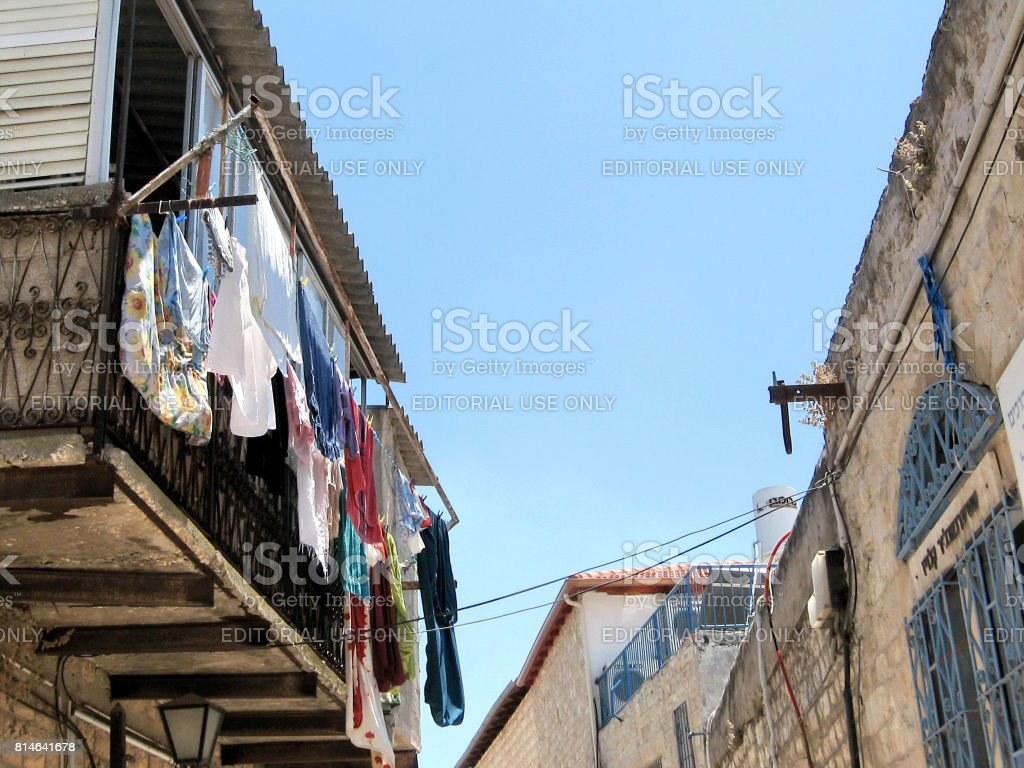Safed Old City drying clothes outdoors 2008 stock photo
