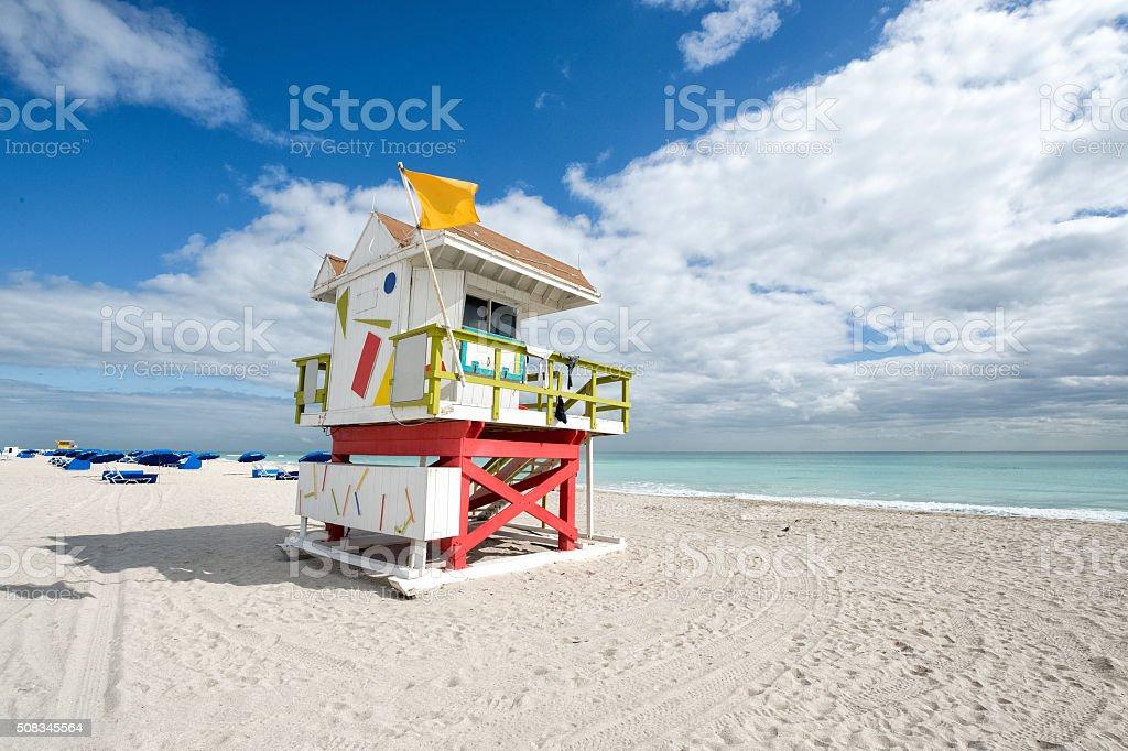 Safeguard hut on empty beach stock photo