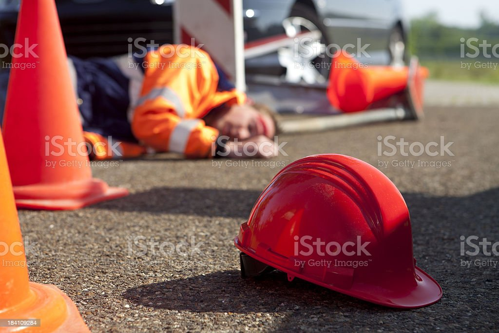 Safety and accident at work. stock photo
