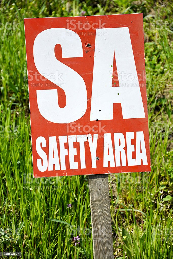 safety area sign stock photo