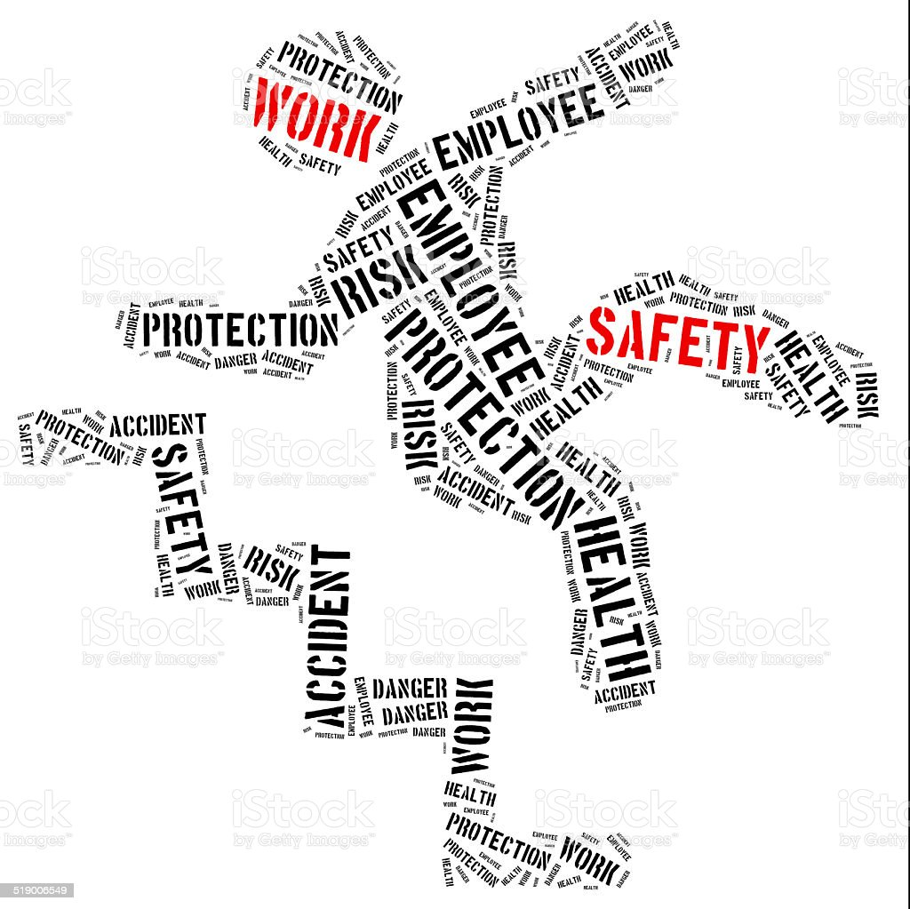 Safety at work concept. Word cloud illustration. stock photo