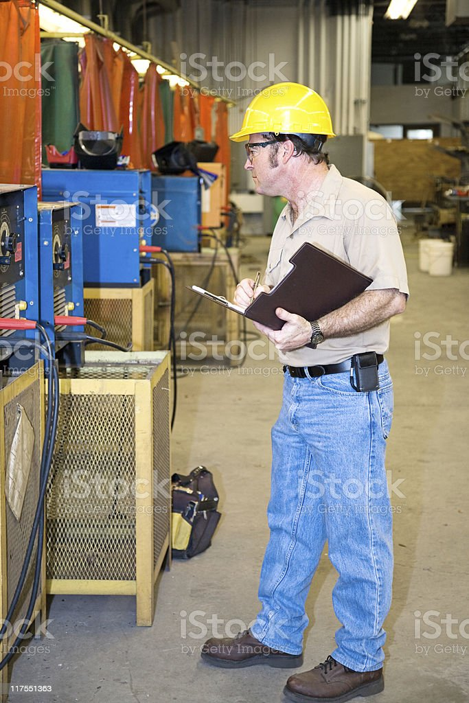 Safety Check of Welding Equipment stock photo