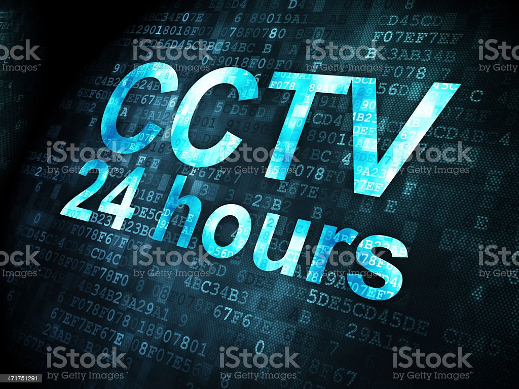 Safety concept: CCTV 24 hours on digital background royalty-free stock photo