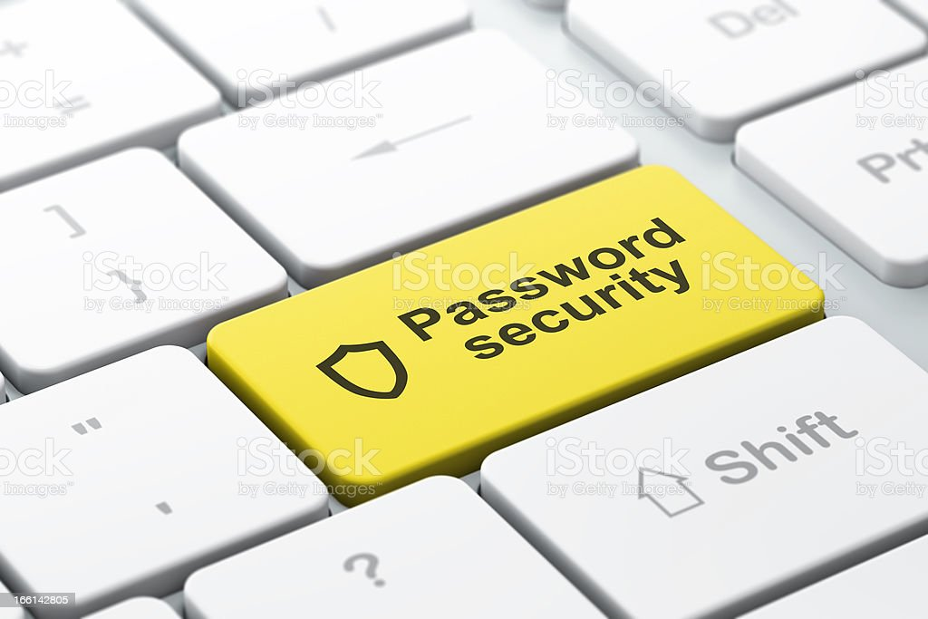 Safety concept: Contoured Shield and Password Security on comput stock photo