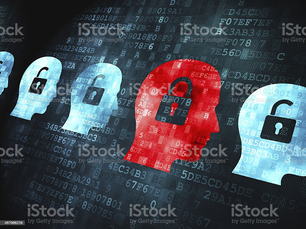 Safety concept: Head Whis Padlock on digital background royalty-free stock photo